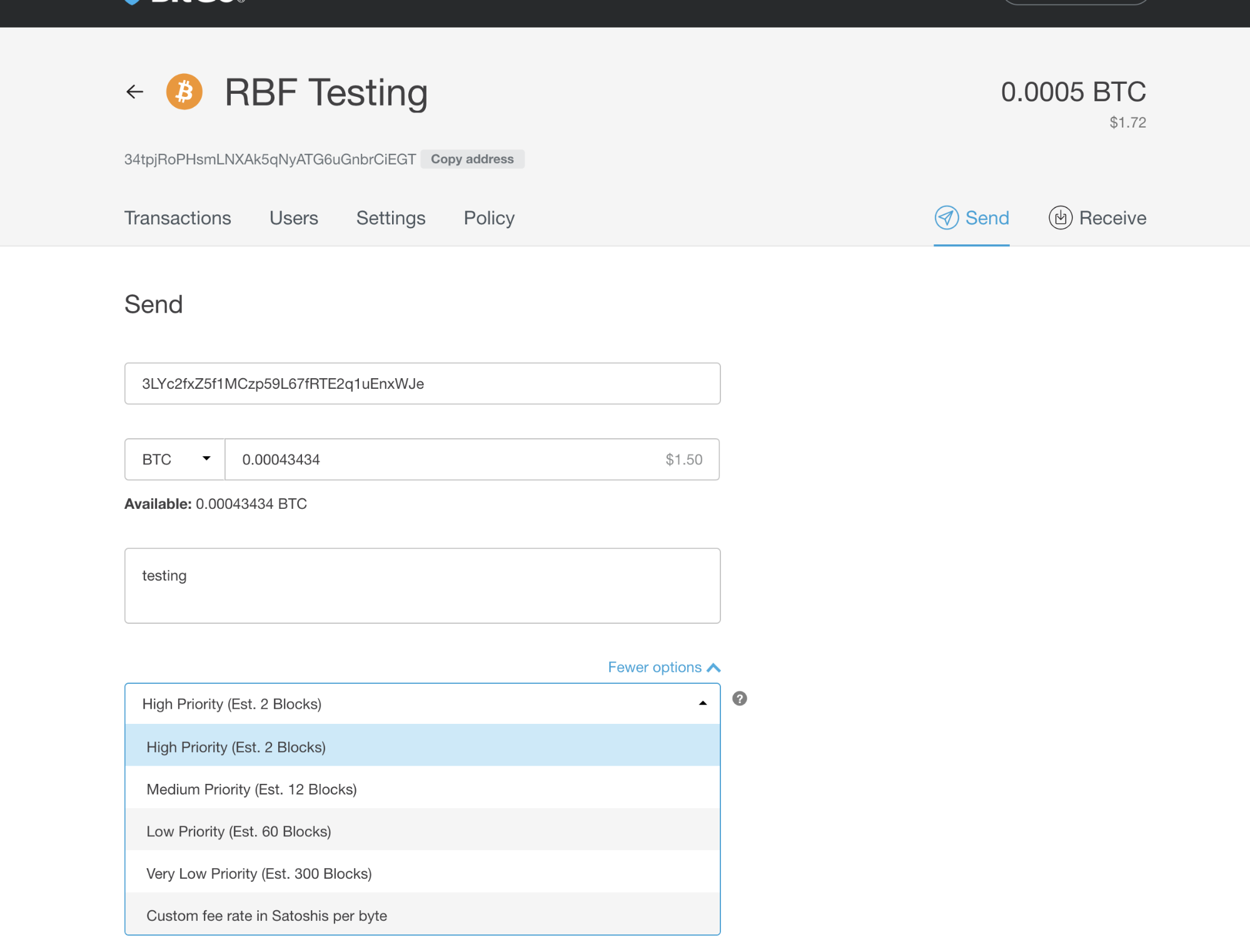 Sending RBF Transaction - Default send transaction screen with fee options expanded. No RBF options.