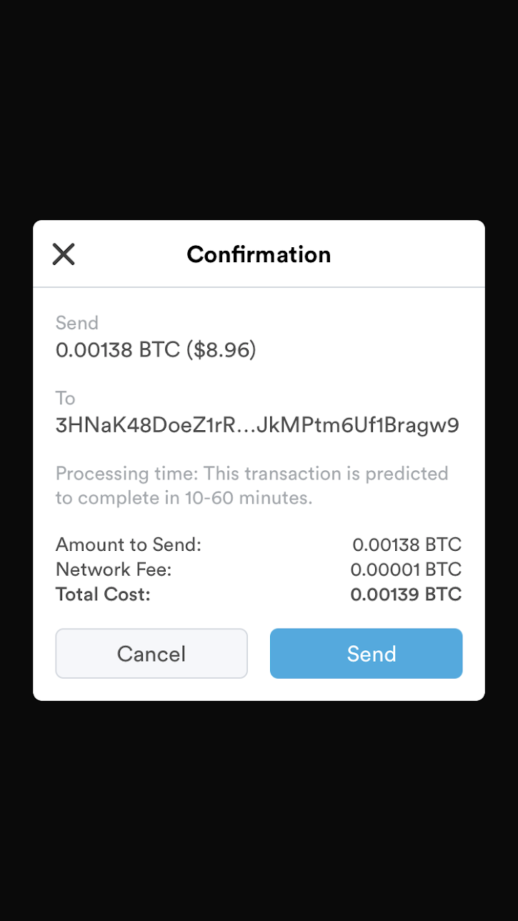 Sending RBF Transaction - Transaction send confirmation prompt.