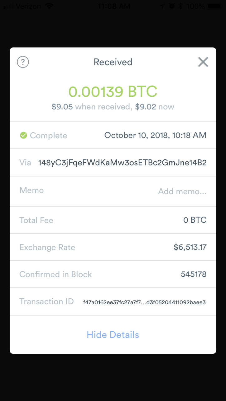 Receiving RBF Transaction - Transaction details of the bumped, confirmed, transaction. No RBF flag or reference to original transaction.