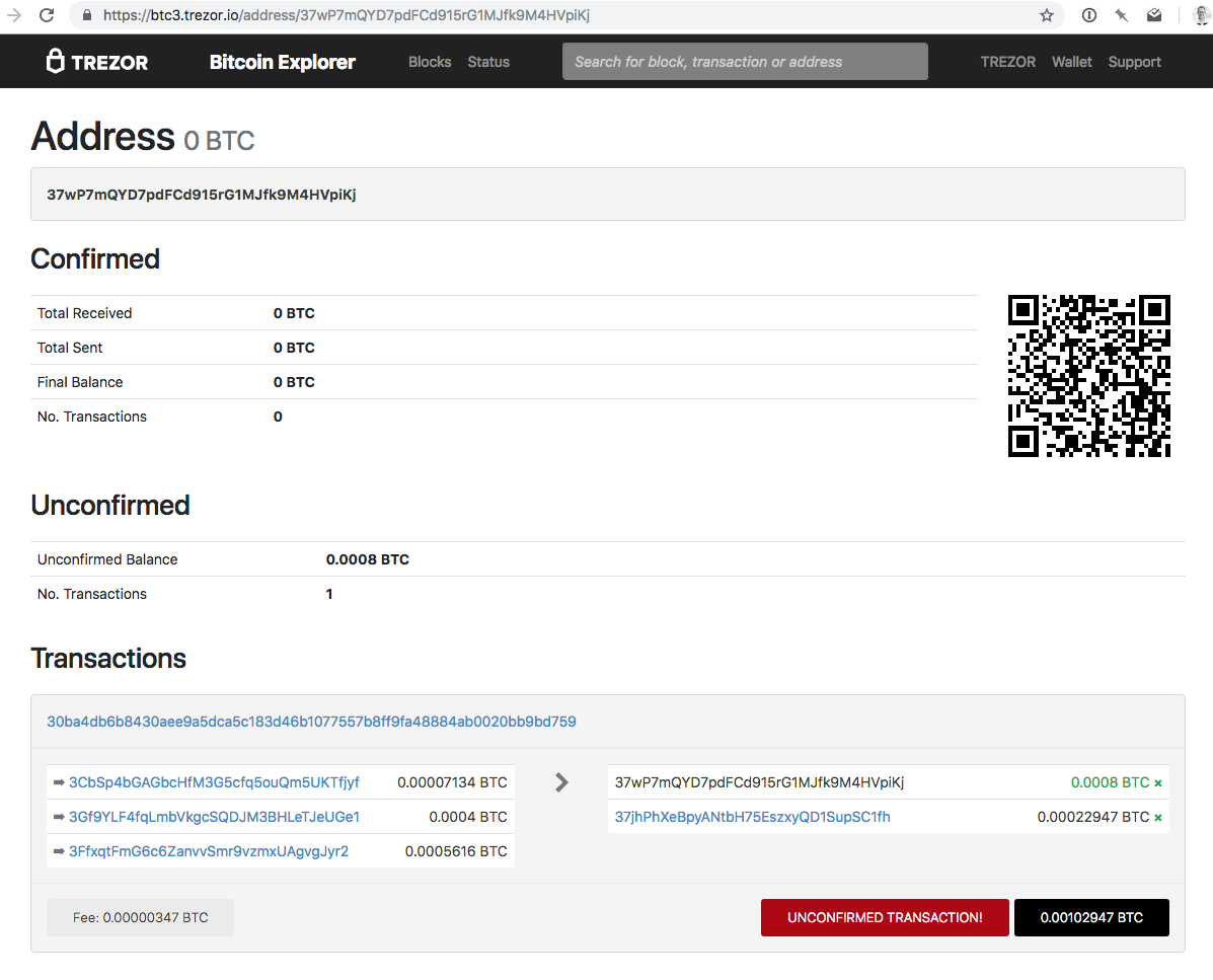 Receiving RBF Transaction - Trezor block explorer for incoming RBF transaction.